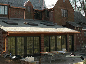 Residential Slate Roof Under Construction